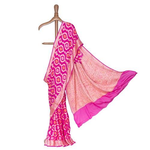 Bandhani Pink Chiffon Saree