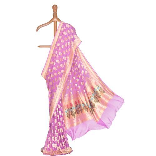 Guldavari Banarasi Handwoven Lavender Chiffon Saree