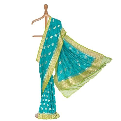 Sadabahaar Banarasi Handwoven Teal Chiffon Saree