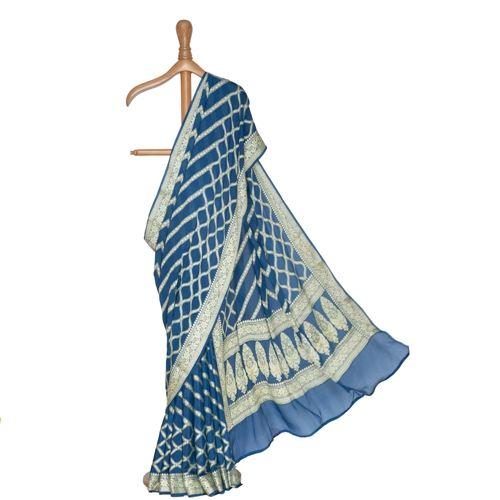 Tobul Lehar Banarasi Handwoven Prussian Blue Chiffon Saree