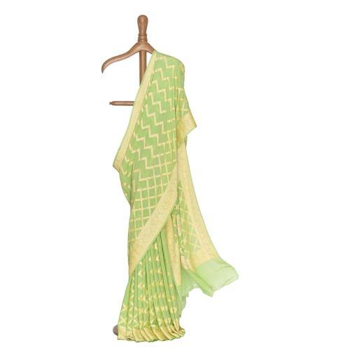 Chouka Banarasi Handwoven Kohlrabi Mint Chiffon Saree