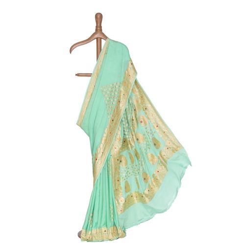 Pamposh Mint Banarasi Handwoven Chiffon Saree
