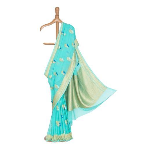 Nargis Banarasi Handwoven Powder Blue Chiffon Saree