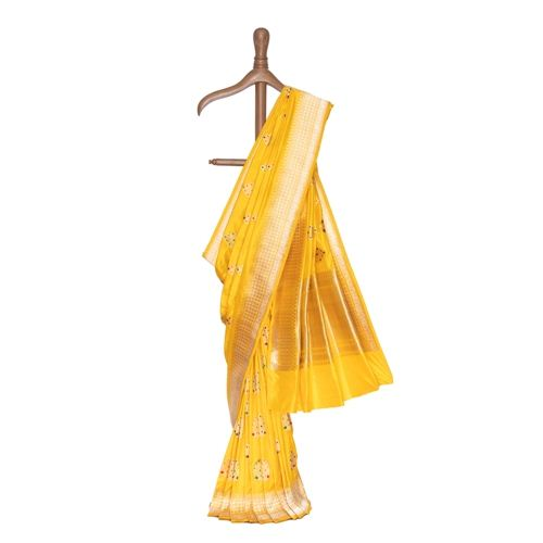 Manjal Banarasi Handwoven Silk Saree