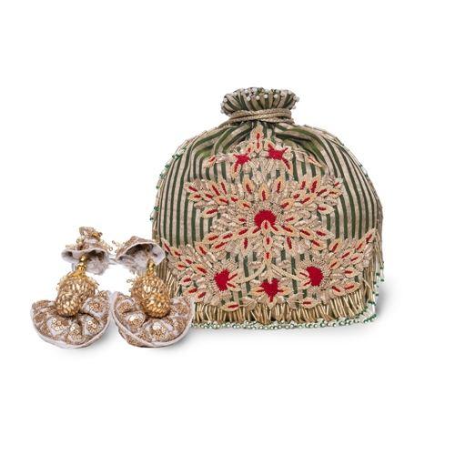 Emerald Banarasi Silk Hand Embroidered Potli Bag