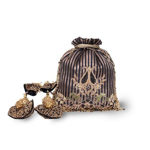 Onyx Banarasi Silk Hand Embroidered Potli Bag