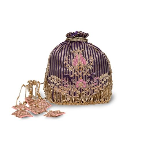 Amethyst Banarasi Silk Hand Embroidered Potli Bag