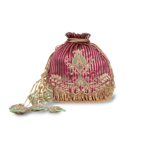 Spinel Banarasi Silk Hand Embroidered Potli Bag
