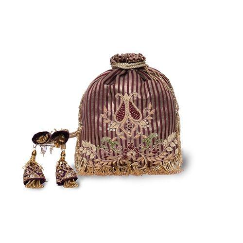 Garnet Banarasi Silk Hand Embroidered Potli Bag