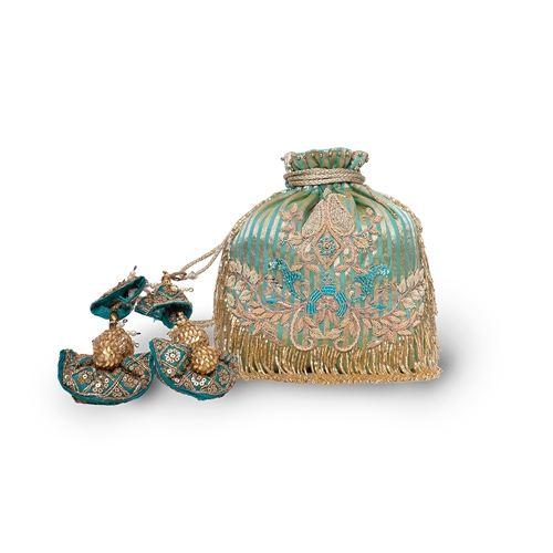 Topaz Banarasi Silk Hand Embroidered Potli Bag