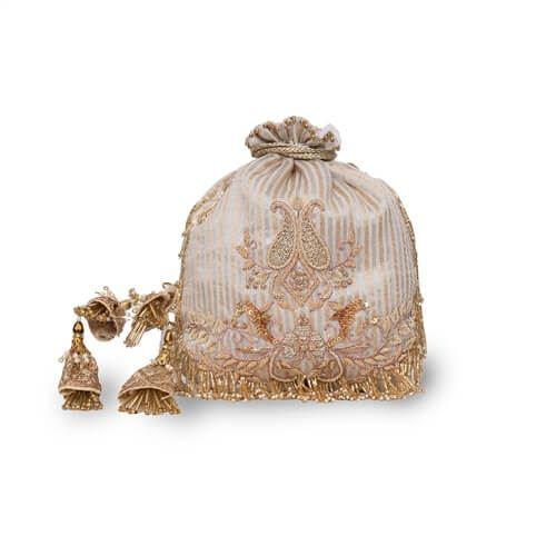 Moonwhite Banarasi Silk Hand Embroidered Potli Bag