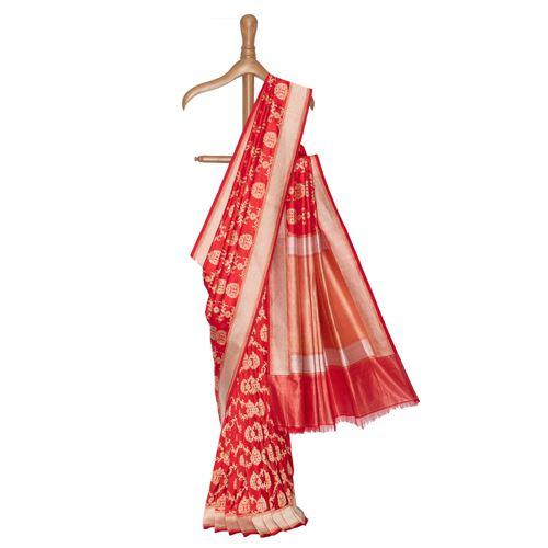 Almond Eyes Red Banarasi Handwoven Silk Saree