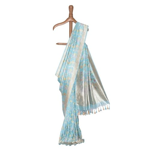 Nain Powder Blue Banarasi Handwoven Silk Saree
