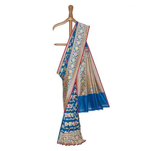 Noor Classic Blue Multicolor Minakari Silk Saree