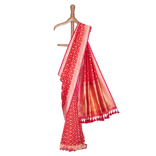 Dollar Buti Scarlet Red Silk Saree