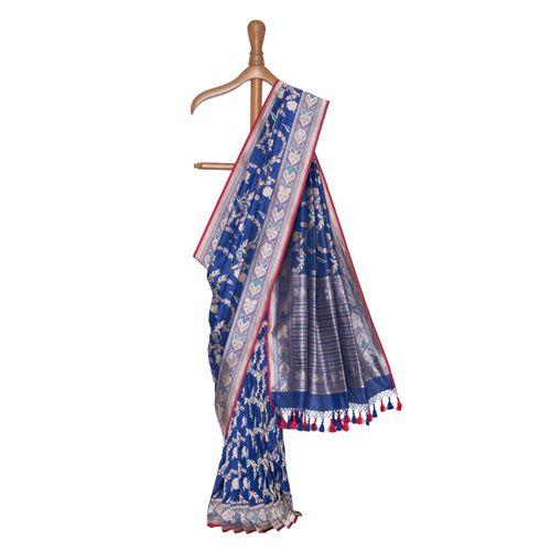Phool Jaal Minakari Indigo Blue Silk Saree