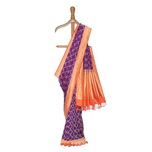 Shahi Ektara Purple Banarasi Handwoven Silk Saree