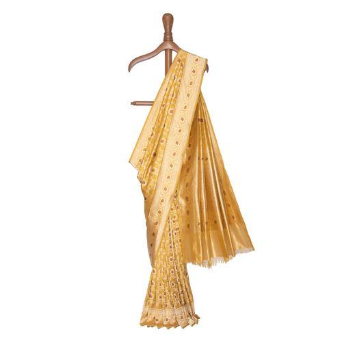 Amber Gold Banarasi Handwoven Silk Saree