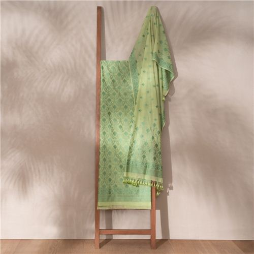 Kumud Green Banarasi Handwoven Cotton Suit Set