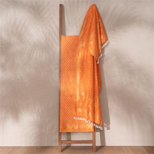 Saba Saffron Banarasi Handwoven Cotton Suit Set
