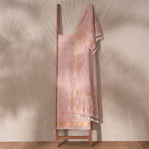 Saba Pale Banarasi Handwoven Cotton Suit Set