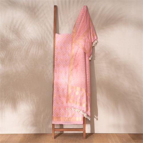 Saba Baby Pink Banarasi Handwoven Cotton Suit Set