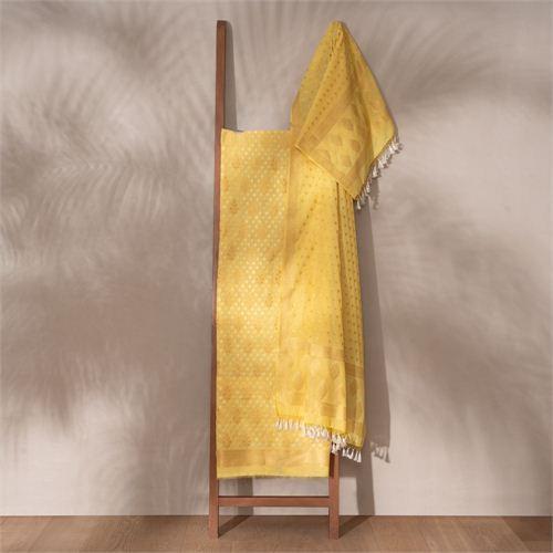 Saba Yellow Banarasi Handwoven Cotton Suit Set