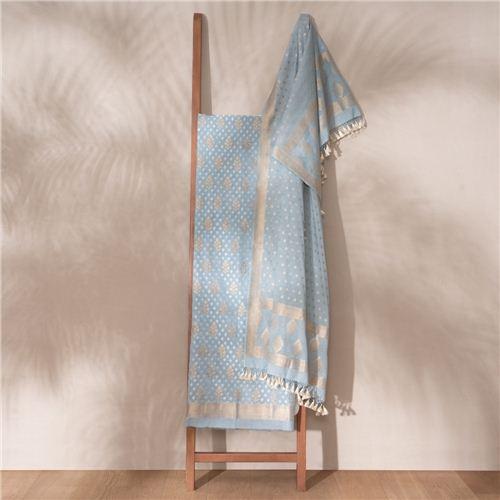 Saba Grey Banarasi Handwoven Cotton Suit Set