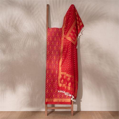 Saba Red Banarasi Handwoven Cotton Suit Set