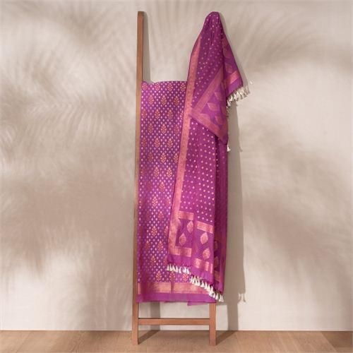 Saba Plum Banarasi Handwoven Cotton Suit Set