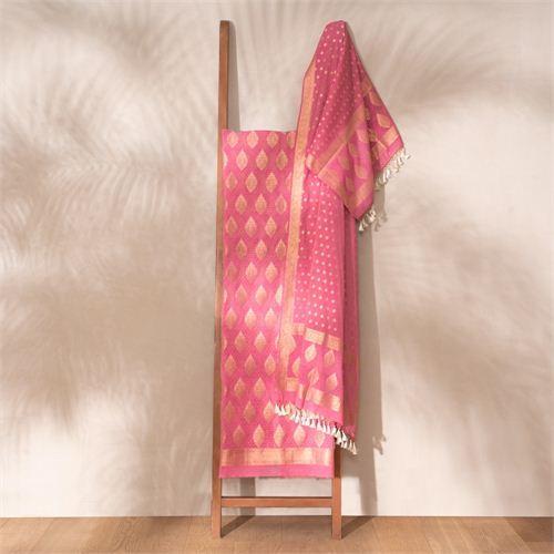 Jugni Fig Banarasi Handwoven Cotton Suit Set