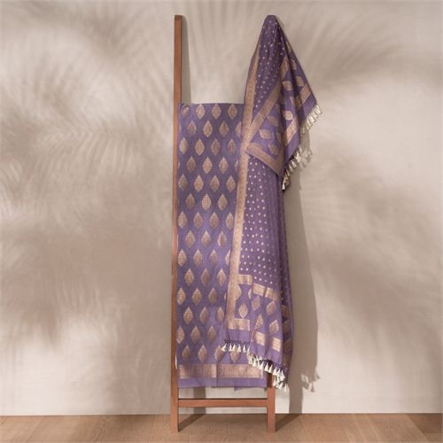 Jugni Purple Banarasi Handwoven Cotton Suit Set