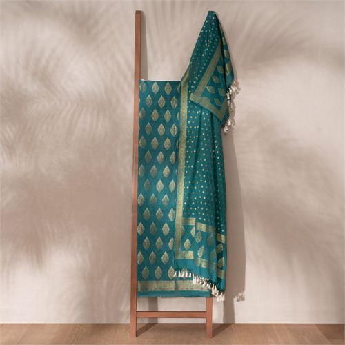 Jugni Teal Banarasi Handwoven Cotton Suit Set