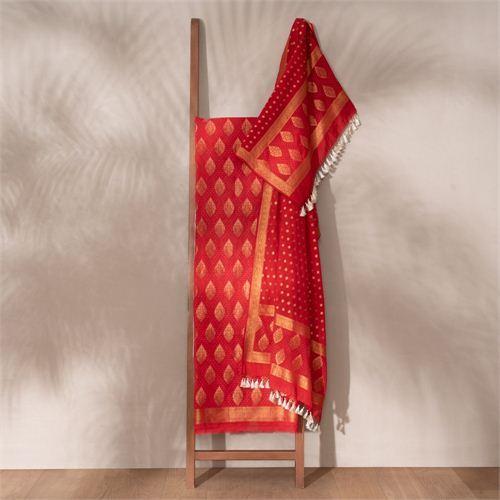 Jugni Red Banarasi Handwoven Cotton Suit Set