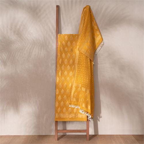 Jugni Mustard Banarasi Handwoven Cotton Suit Set