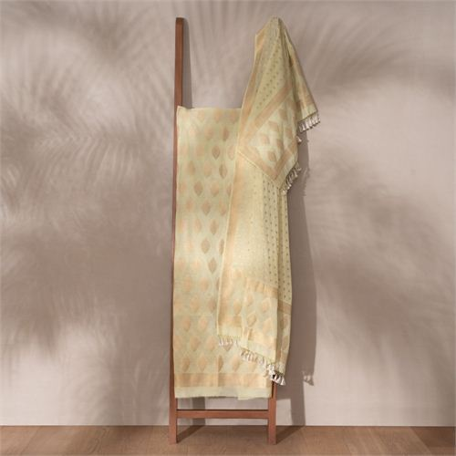 Jugni Pistachio Banarasi Handwoven Cotton Suit Set