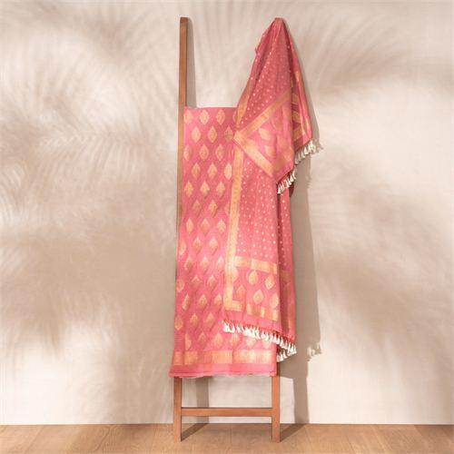 Jugni Apricot Banarasi Handwoven Cotton Suit Set