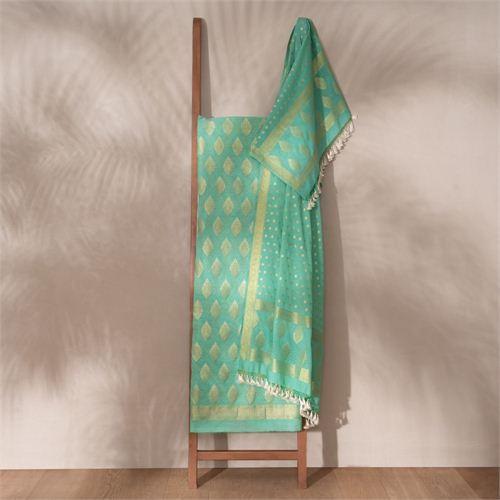 Jugni Jade Banarasi Handwoven Cotton Suit Set