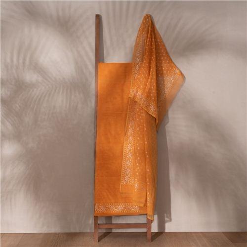 Narangi Ektara Real Zari Banarasi Handwoven Muslin Suit Set