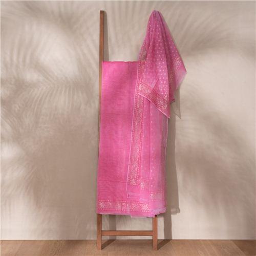 Gulaab Ektara Real Zari Banarasi Handwoven Muslin Suit Set