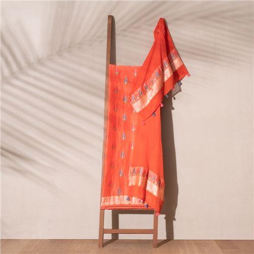 Mirha Orange Banarasi Handwoven Linen Chiffon Suit Set