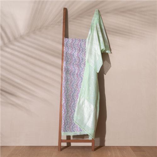 Shifan Banarasi Handwoven Linen Chiffon Suit Set
