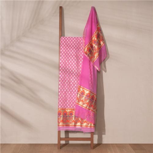 Zahra Banarasi Handwoven Cotton Suit Set