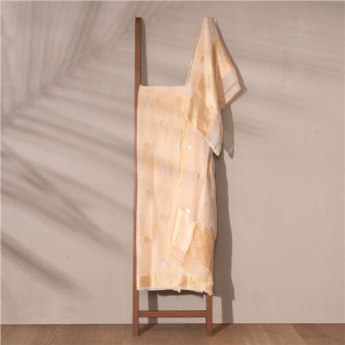 Badam Banarasi Handwoven Linen Chiffon Suit Set