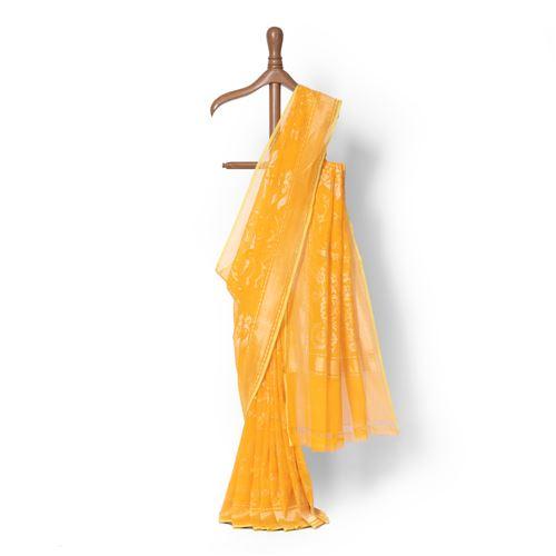 Hasrat e Phool Real Zari Banarasi Handwoven Muslin Saree