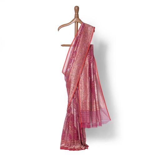 Mehzebeen Rangkat Real Zari Banarasi Handwoven Silk Saree