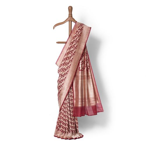 Amara Real Zari Banarasi Handwoven Kora Silk Saree