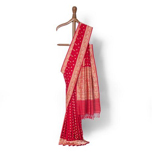Surkh Laal Real Zari Banarasi Handwoven Silk Saree