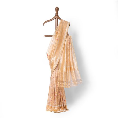Sunehri Warki Real Zari Banarasi Handwoven Silk Saree