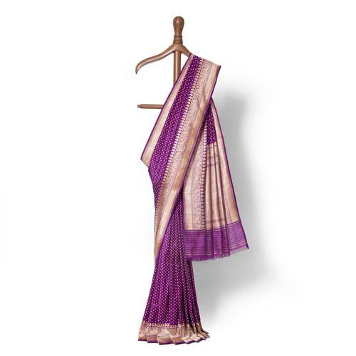 Jamun Konia Real Zari Banarasi Handwoven Silk Saree